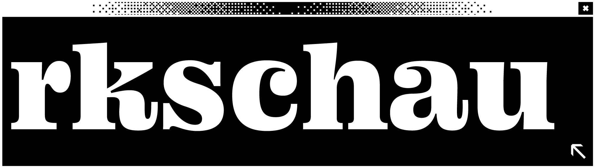 Schwarzes Bildschirmfenster mit dem Wort Werkschau in der Mitte