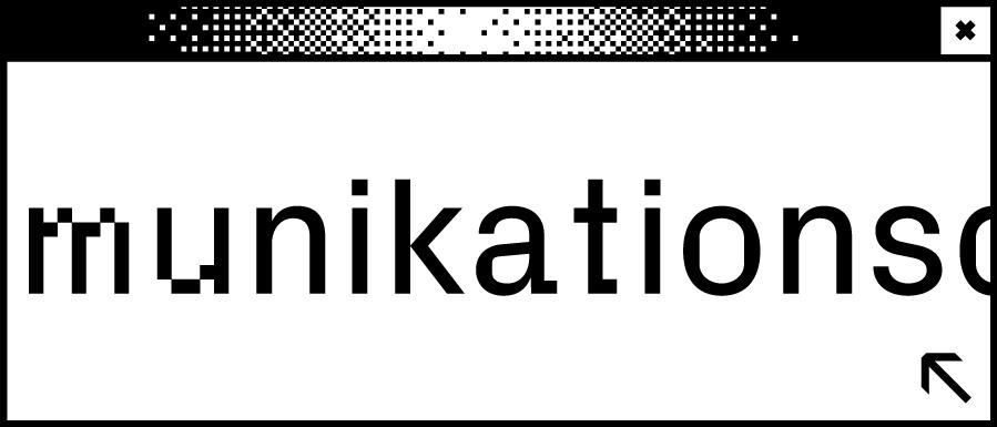 Weißes Browserfenster mit Wortabschnitt munikations in der Mitte