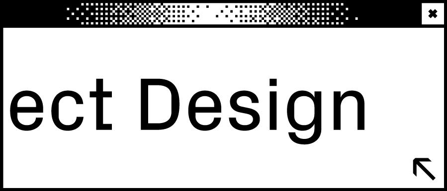 Weißes Browserfenster mit Wortabschnitt ect Design in der Mitte