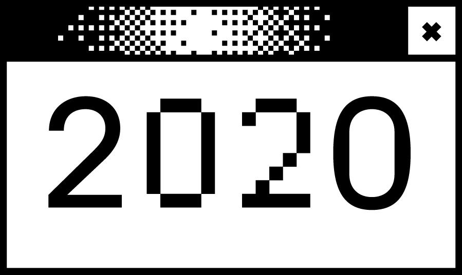 Weißes Bildschirmfenster mit der Jahreszahl 2020 in der Mitte
