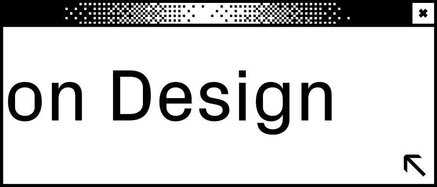 Weißes Browserfenster mit Wortabschnitt on Design in der Mitte