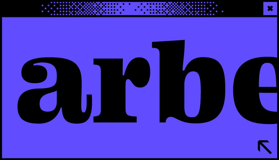Dunkelblaues Browserfenster mit Wortabschnitt arbe in der Mitte