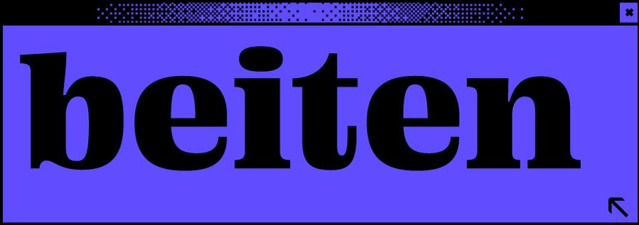 Dunkelblaues Browserfenster mit Wortabschnitt beiten in der Mitte