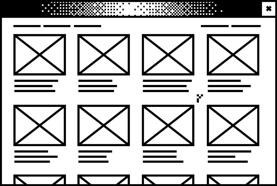Weißes Browserfenster mit einer abstrahierten Übersicht von Abschlussarbeiten in der Mitte
