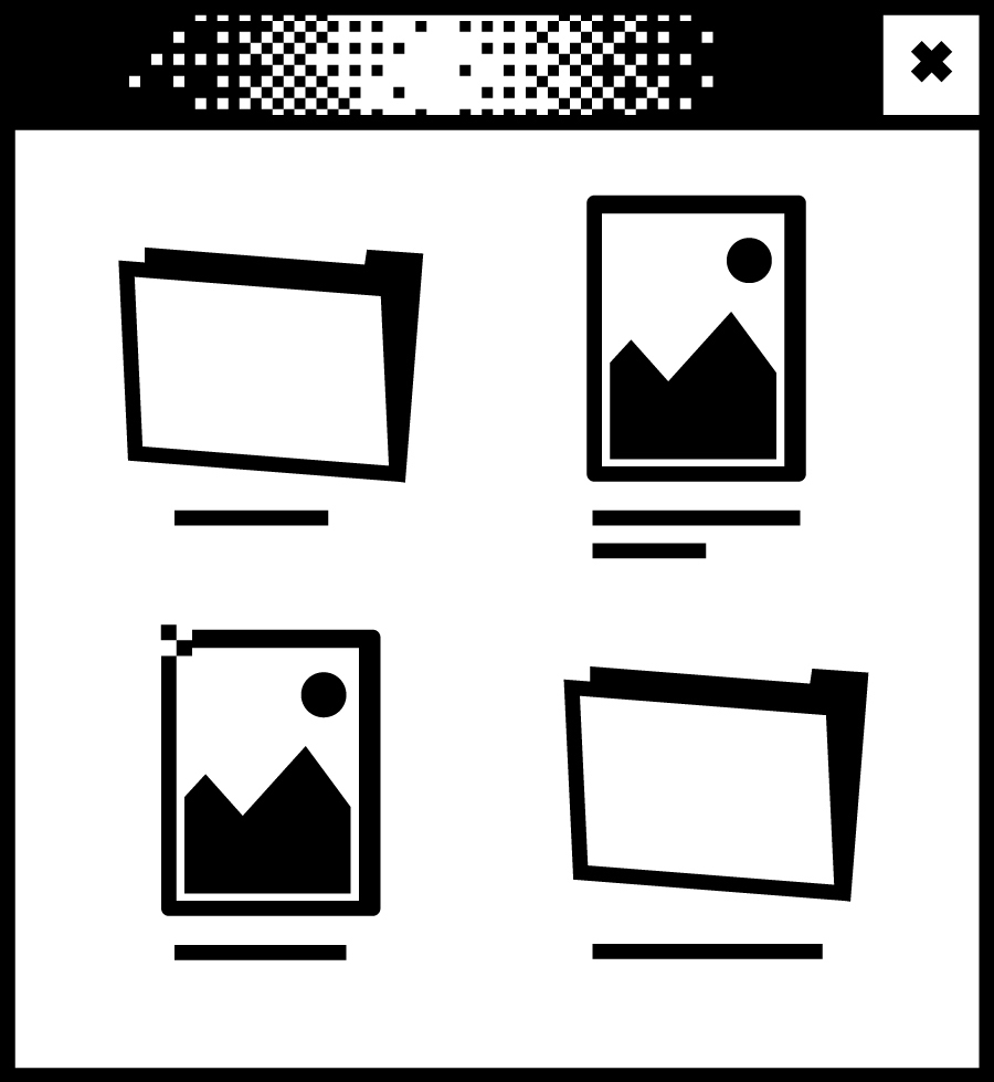 Weißes Browserfenster mit Pixelgrafik in der Mitte. Zwei Ordner und zwei Fotos