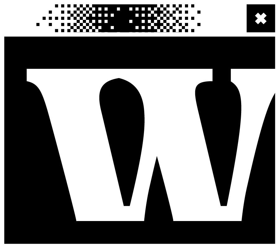 Schwarzes Bildschirmfenster mit dem Buchstaben w in der Mitte