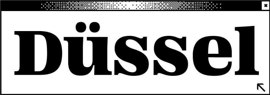 Weißes Browserfenster mit dem Wortabschnitt Düssel in der Mitte