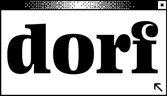 Weißes Browserfenster mit dem Wort dorf in der Mitte