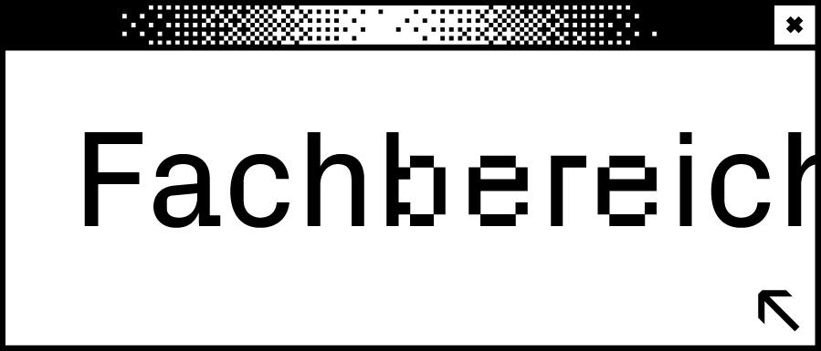 Weißes Browserfenster mit dem Wort Fachbereich in der Mitte