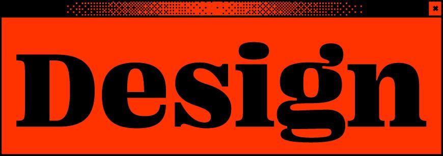 Rotes Browserfenster mit dem Wort Design in der Mitte
