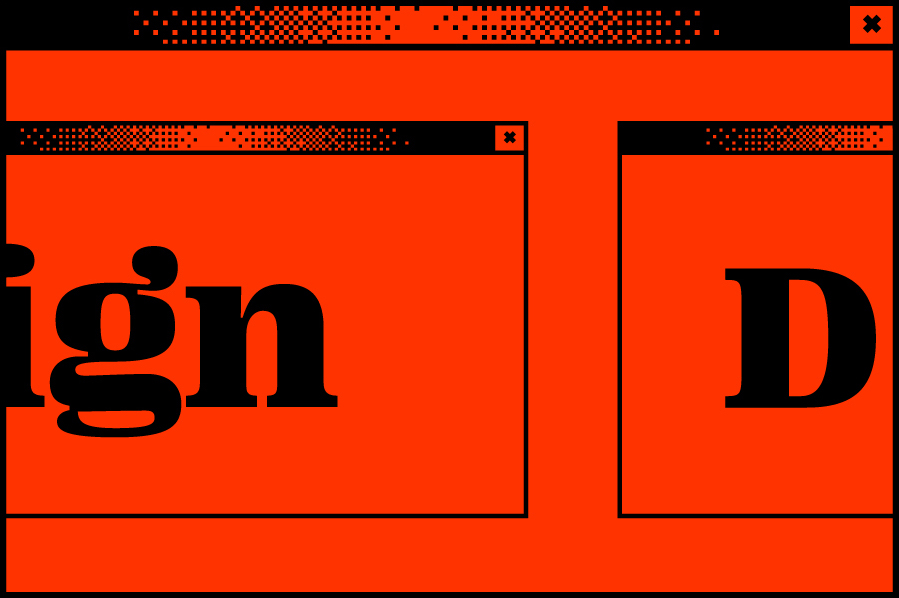 Rotes Bildschirmfenster mit einem weiteren Bildschirmfenster in der Mitte