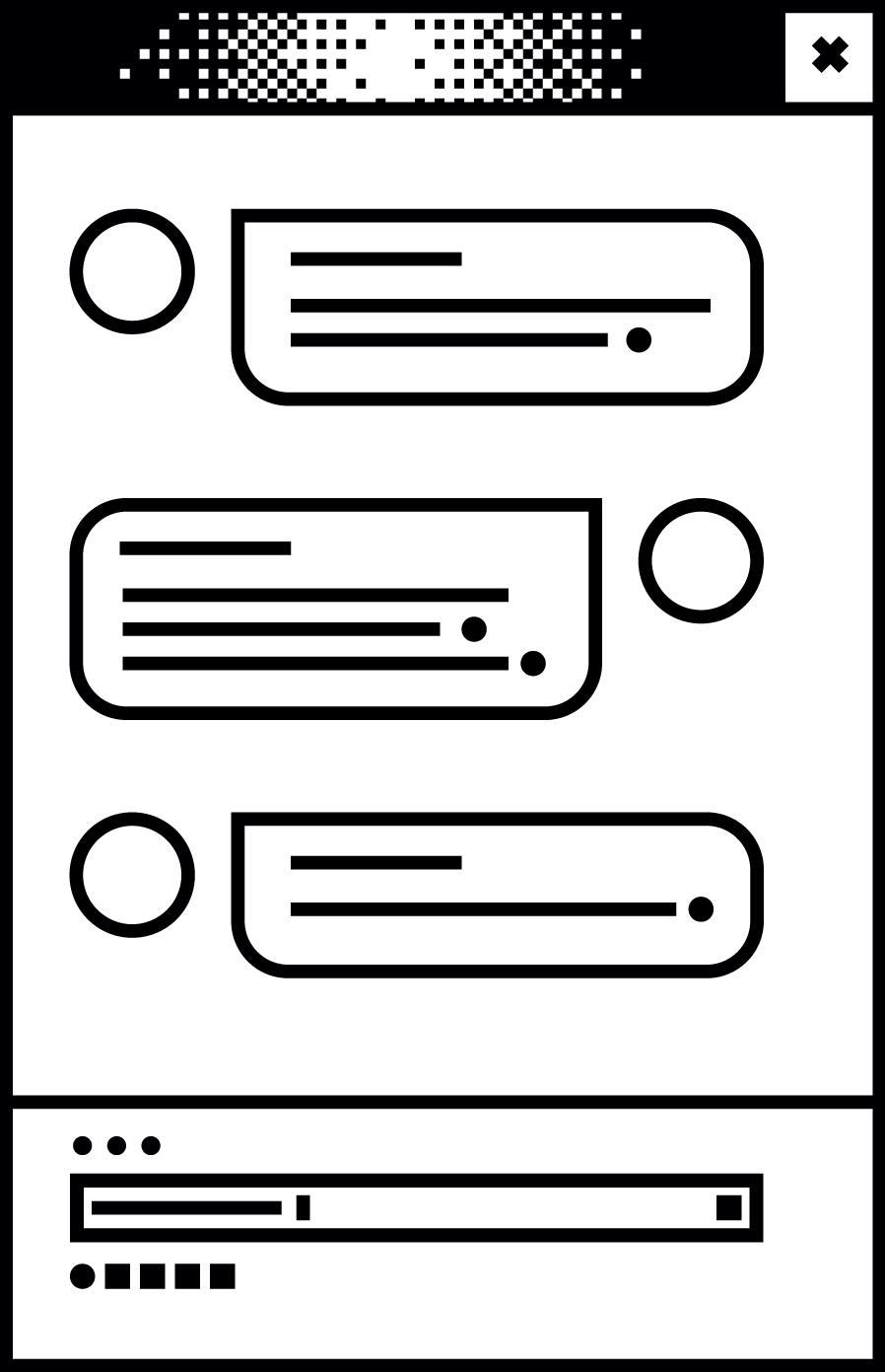 Weißes Browserfenster mit einem Chatverlauf in der Mitte
