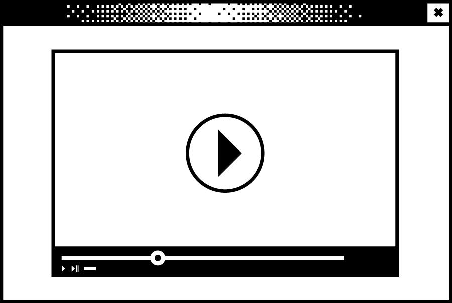 Weißes Browserfenster mit einem abstahierten Videoplayer in der Mitte