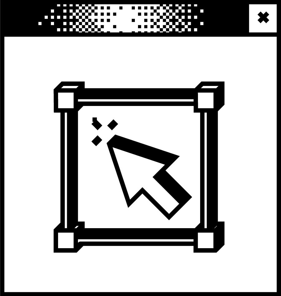 Weißes Browserfenster mit Pixelgrafik in der Mitte. Mauszeiger in dreidimensionalem Rechteck