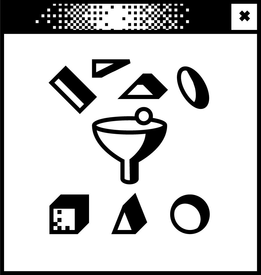 Weißes Browserfenster mit Pixelgrafik in der Mitte. Verschiedene Formen um einen Trichter herum