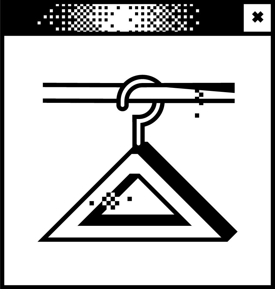 Weißes Browserfenster mit Pixelgrafik in der Mitte. Abbildung einer Kleiderstange mit Bügeln