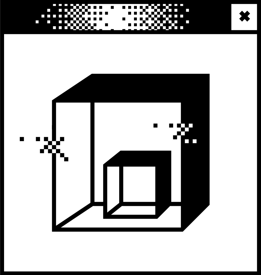 Weißes Browserfenster mit Pixelgrafik in der Mitte. Abbildung einer Vitrine mit Quader