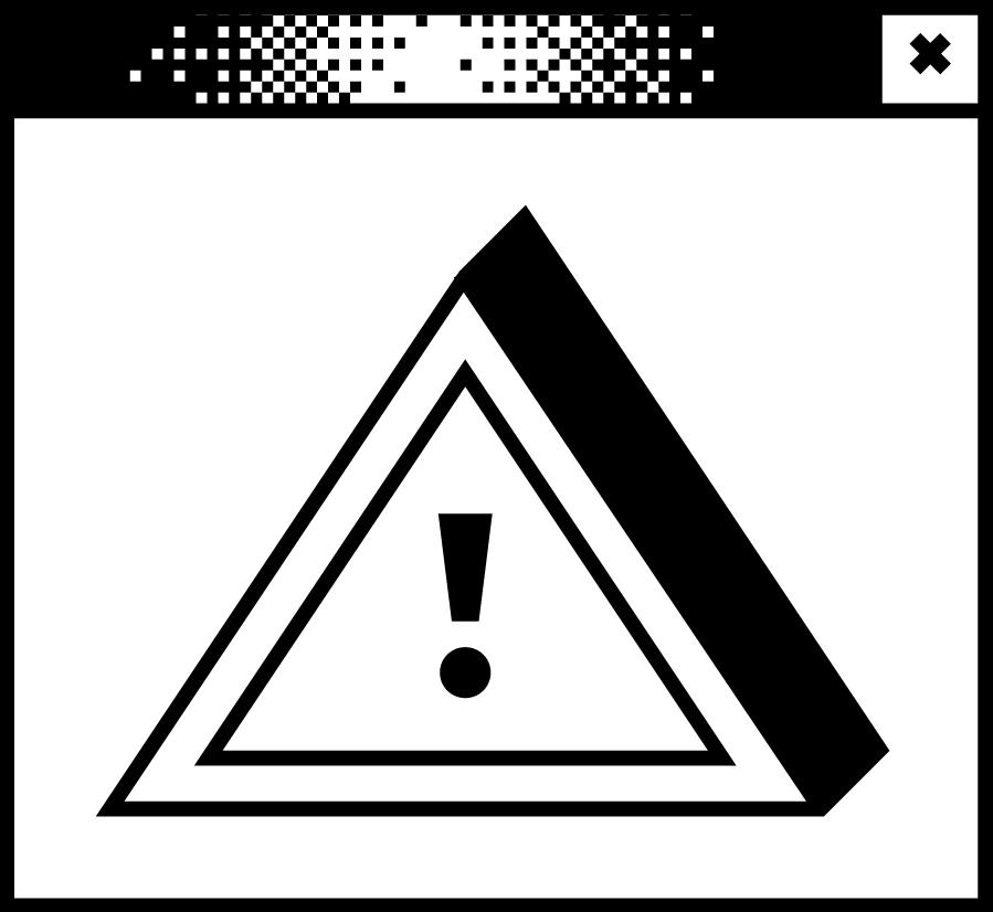Bildschirmfenster mit einer Pixelgrafik. Ein Ausrufezeichen in einem Dreieck