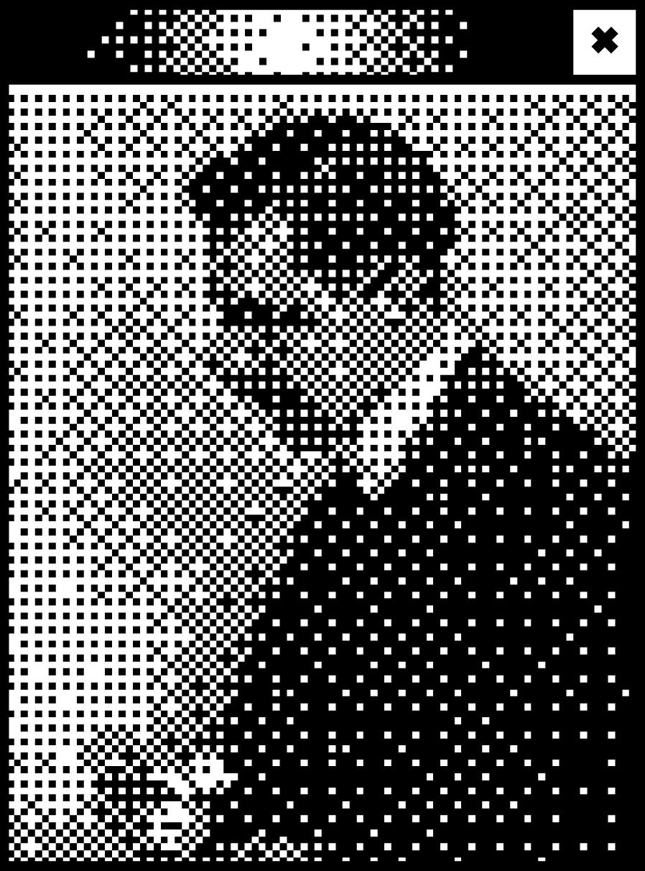 Schwarzes Browserfenster mit Pixelgrafik von Peter Behrens