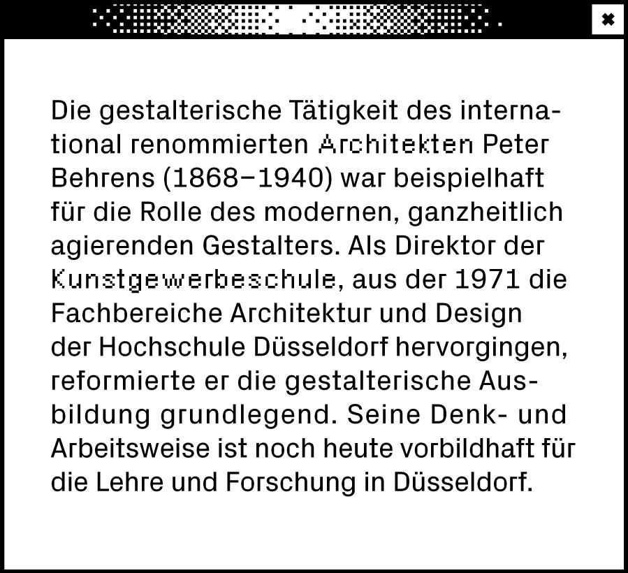 Weißes Browserfenster mit Text über Peter Behrens