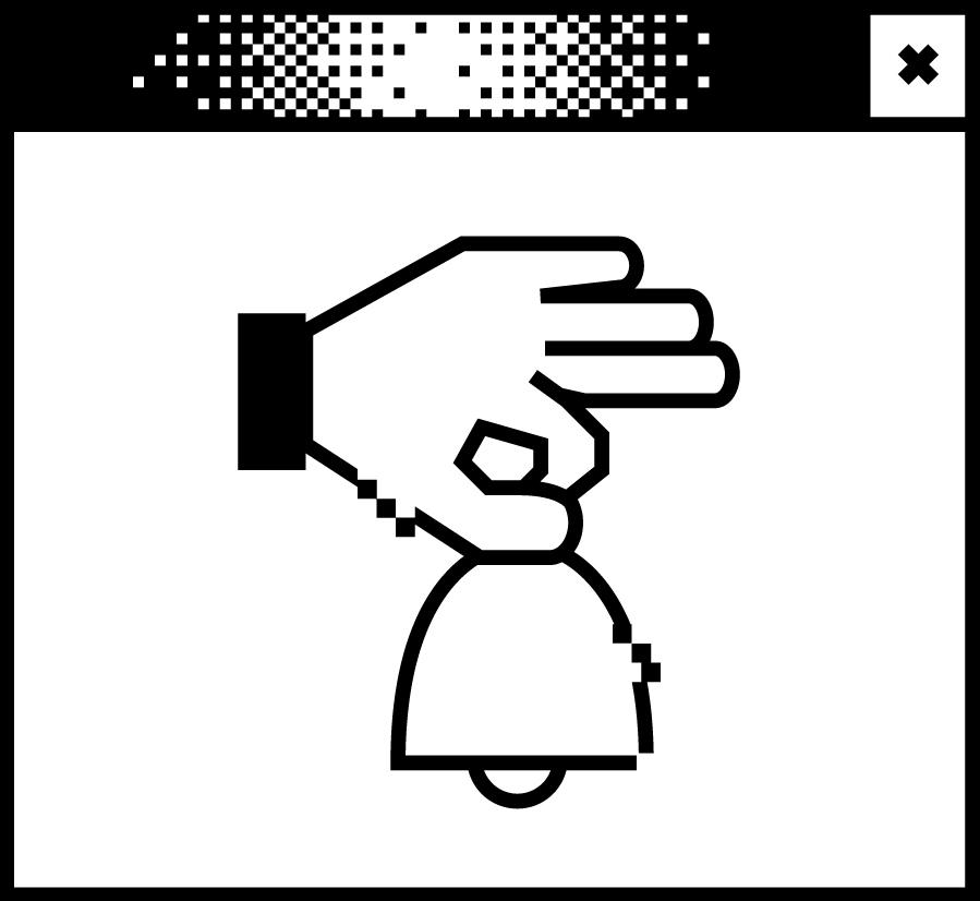 Bildschirmfenster mit einer Pixelgrafik. Eine Hand hält eine Glocke