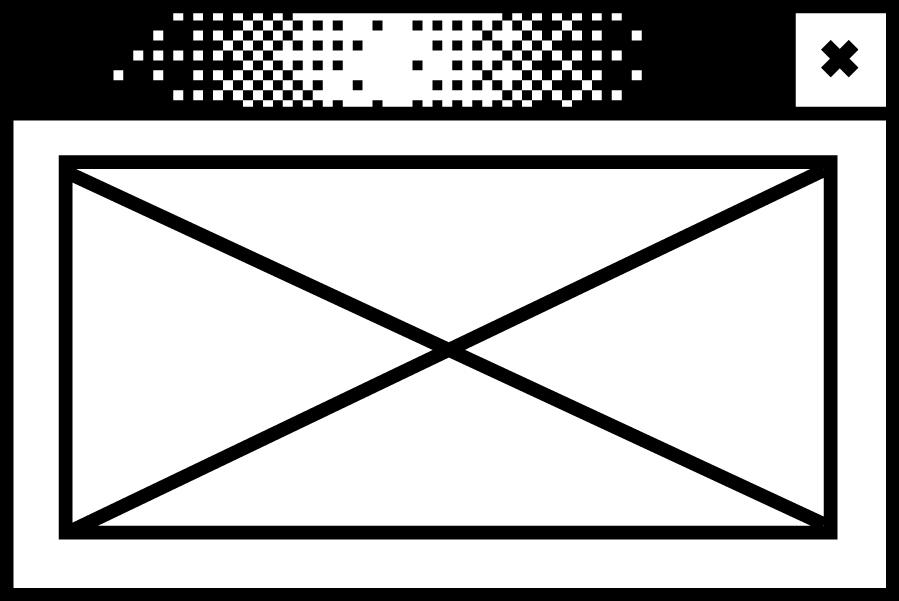 Bildschirmfenster mit einem durchkreuzten Rechteck in der Mitte