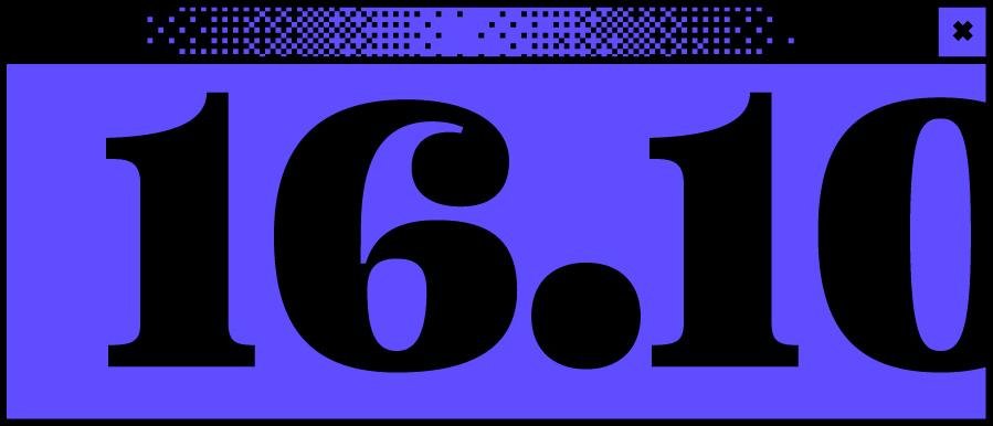 Dunkelblaues Bildschirmfenster mit einem dem Datum 16.10. in der Mitte