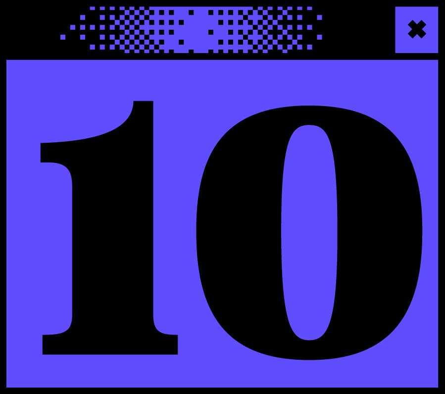 Dunkelblaues Bildschirmfenster mit der Ziffer 10 in der Mitte